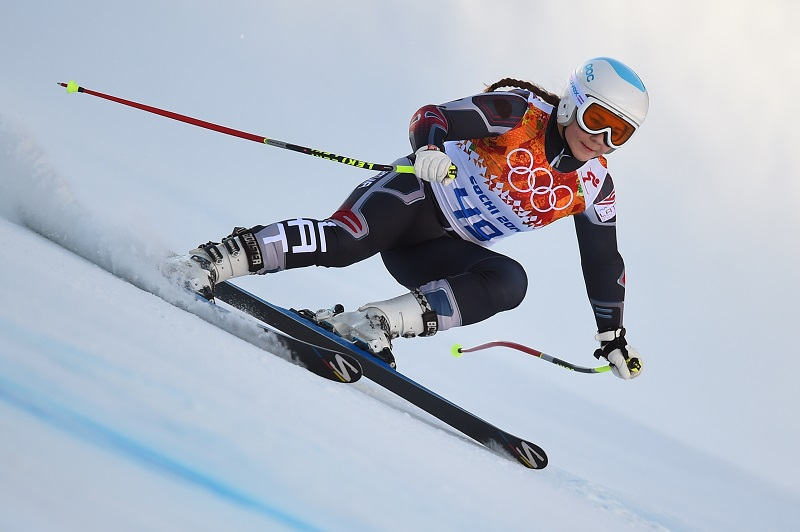 Latvia's Agnese Aboltina competes during the Women's Alpine Skiing Super-G at the Rosa Khutor Alpine Center during the Sochi Winter Olympics on February 15, 2014.        AFP PHOTO / FABRICE COFFRINI