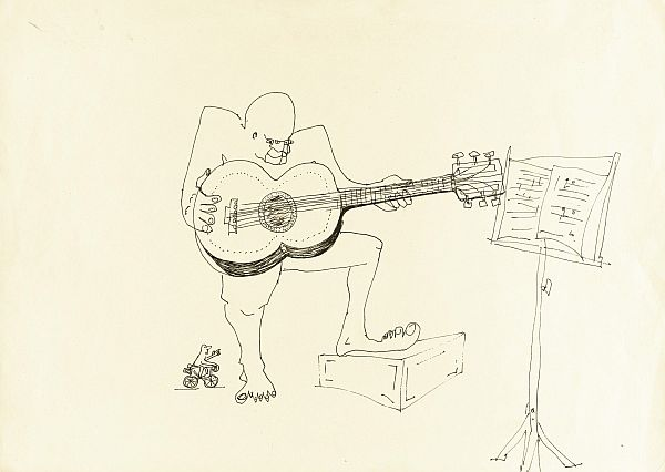 epa04231363 An undated handout picture made available on 29 May 2014 by Sotheby's auction house in New York, USA shows an untitled ink drawing of a four-eyed guitar player by British musician John Lennon. The item is estimated to fetch between 15,000 and 25,000 US dollars during an upcoming auction that will take place at Sotheby's New York on 04 June 2014.  EPA/SOTHEBY'S AUCTION HOUSE  HANDOUT EDITORIAL USE ONLY/NO SALES