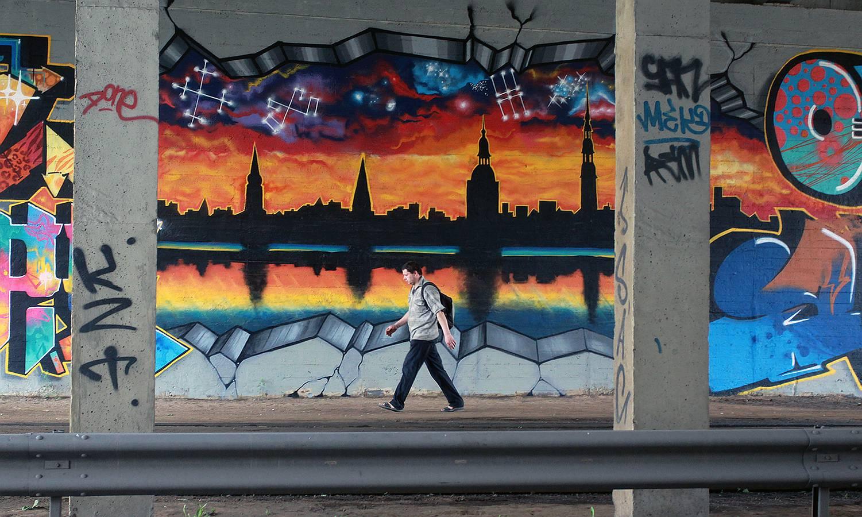 Rīgas panorāma Salu tilta tunelī.