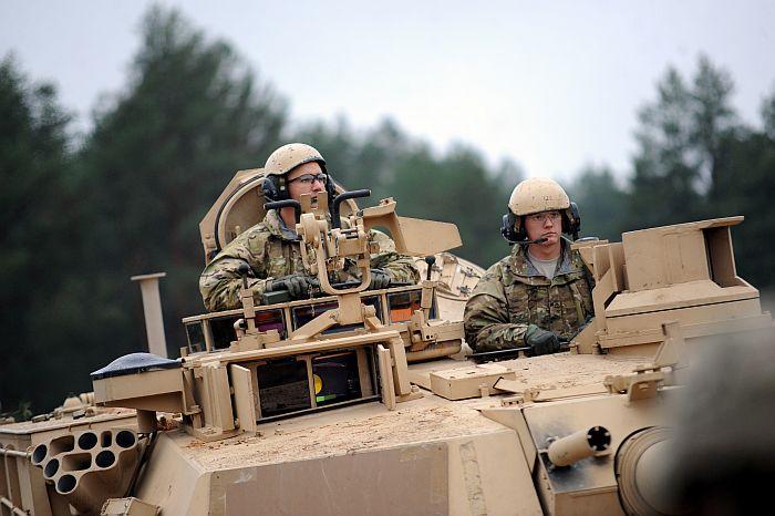 ASV armijas Pirmās kavalērijas divīzijas smagās bruņutehnikas rotas paraugdemonstrējumi Ādažos.