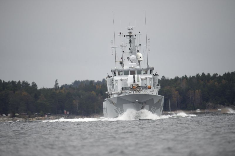 The Swedish minesweeper HMS Kullen under way on the Namdo Bay on October 21, 2013 on their fifth day of searching for a suspected foreign vessel in the Stockholm archipelago. The defence forces are on their fifth day of searching for a suspected foreign vessel in the Stockholm archipelago.