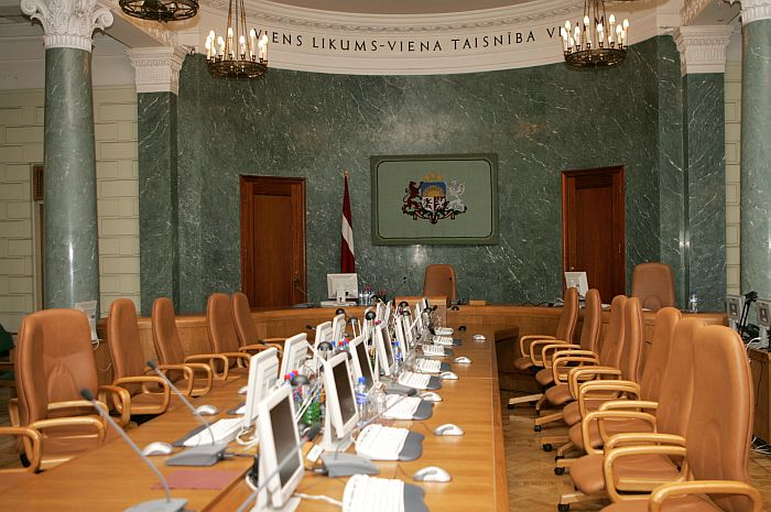 Latvijas Republikas Ministru kabineta sēžu zāle.