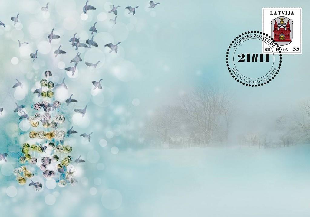 """Pieminot Zolitūdes traģēdiju """"Latvijas Pasts"""" izdevis speciālu aploksni. Tās autore Anda Skadmane aploksnes dizainā turpina bojā gājušās dvīņu māsas Dainas Skadmanes darbu """"Vēja egle""""."""