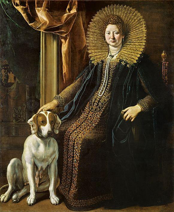 """Alesandro Tiarīni (Alessandro Tiarini, 1577–1668). """"Dāma ar suni"""" (Orsina Leoni Kastelli). Ap 1618. Audekls, eļļa. Boloņas Nacionālās pinakotēkas kolekcija."""