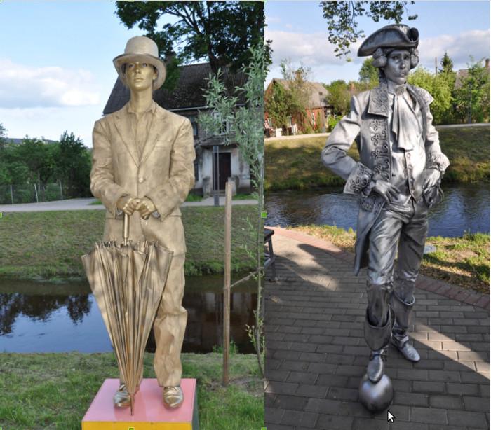 """Dzīvās skulptūras """"Anglis"""" (no kreisās) un """"Minhauzens""""."""