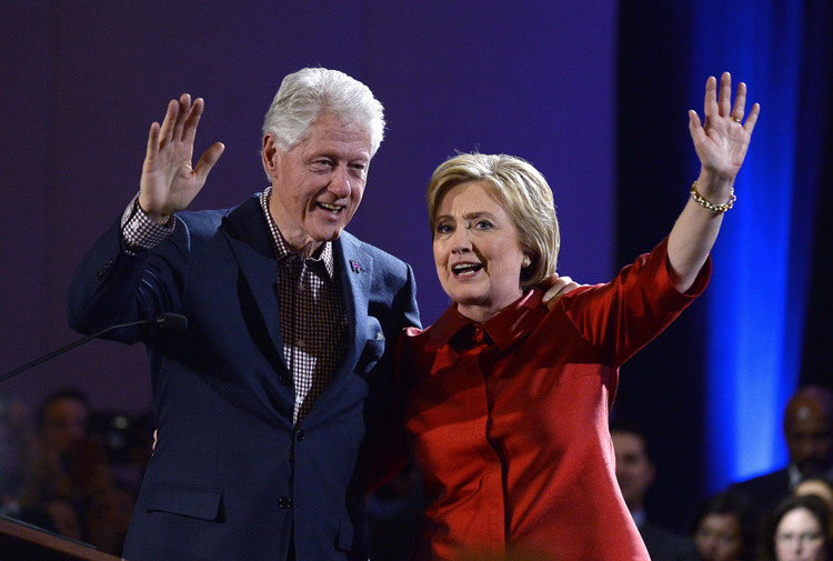 Hilarija Klintone ar vīru Bilu Klintonu.