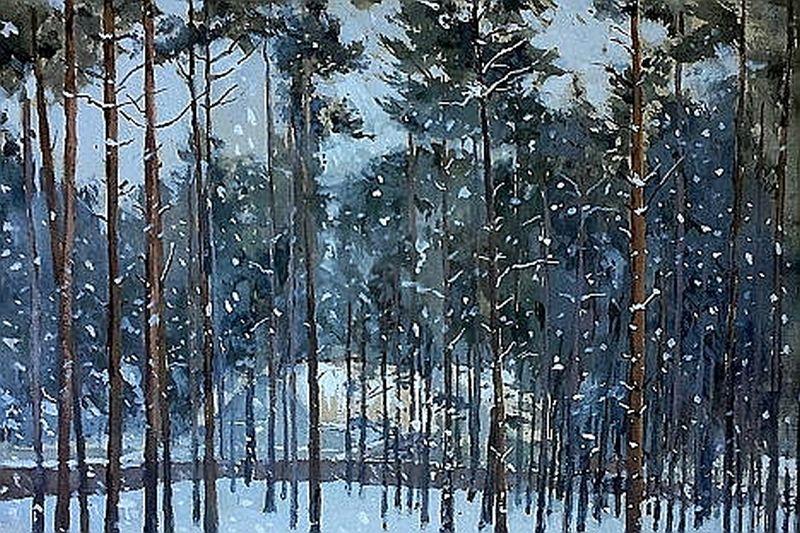 """""""Priežu mežs ziemā"""". 20. gadsimta sākums. Autors nezināms."""