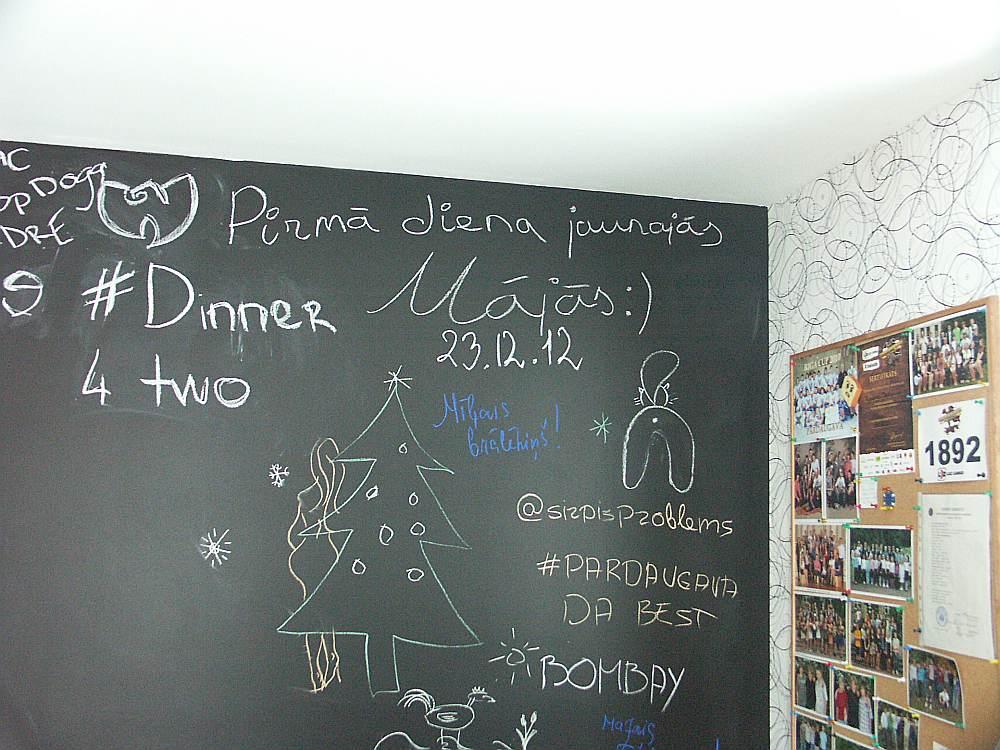 Nokrāsojot sienu ar tāfeles krāsu, to iespējams apzīmēt vai aprakstīt ar krītu.