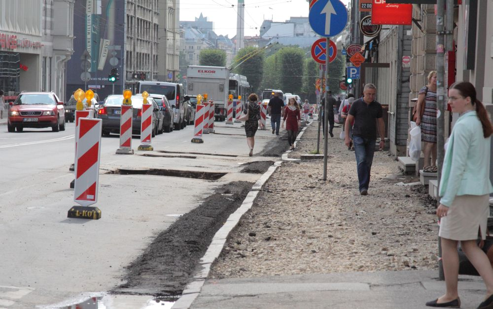 Brīvības iela remontu laikā