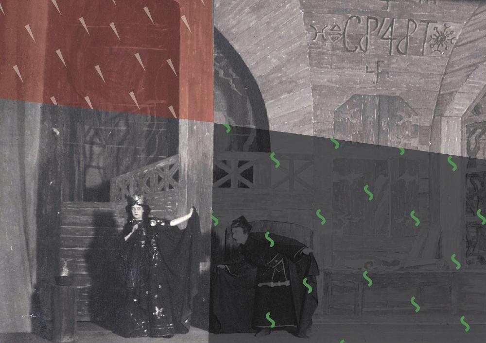 """Aina no 1921. gada """"Uguns un nakts"""" iestudējuma Jaunajā Rīgas teātrī."""