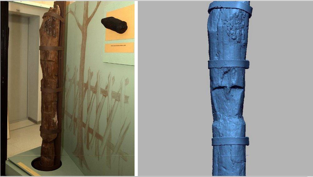 Sārnates elka oriģināls (no kreisās) un kopija 3D drukā.