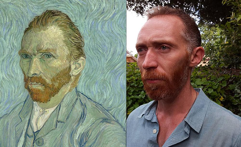 Britu aktieris Daniels Beikers tiešām ir ļoti līdzīgs nīderlandiešu māksliniekam Vinsentam van Gogam.