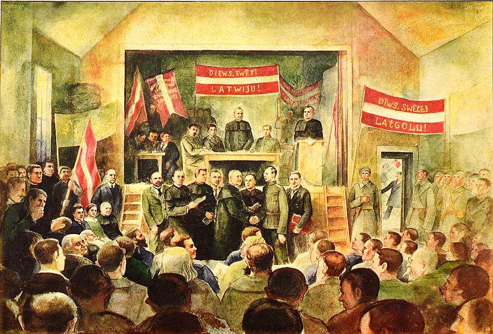"""Latgales latviešu kongresa norises aina kinoteātrī """"Diana"""" Rēzeknē 1917. gada 9. maijā. Uzskates līdzeklis skolām un sabiedriskajām iestādēm pēc Jēkaba Strazdiņa akvareļa. Izdevniecība """"Pagalms"""", 1935. gads."""