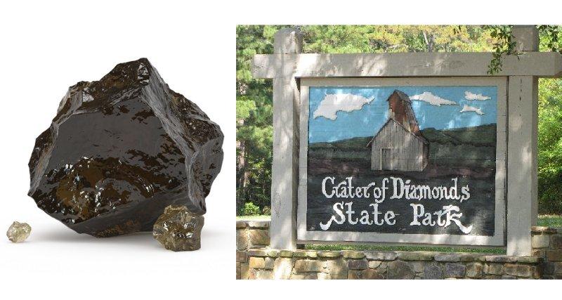 """Neaptrādāts brūnais dimants un """"Dimantu krātera"""" parka zīme."""