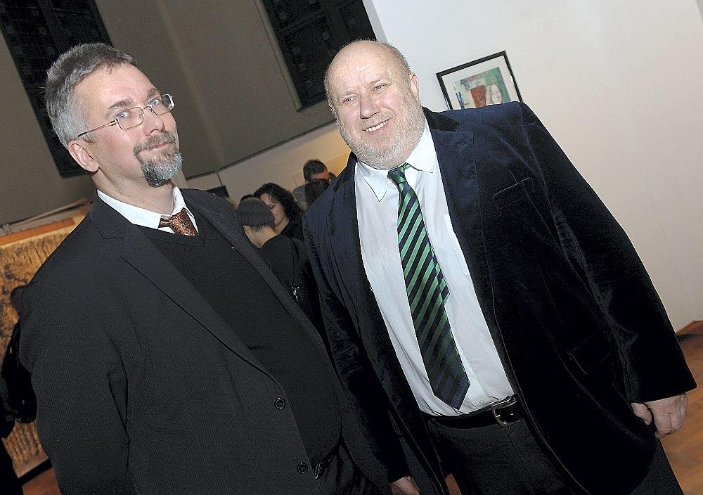 Andris Teikmanis (no kreisās), šā brīža LMA prorektors studiju un zinātniskajā darbā, kopā ar tagadējo LMA rektoru Alekseju Naumovu.