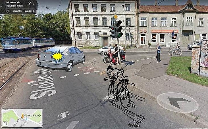 """Riteņbraucējam vienmēr taisnība? Avoti: """"Google maps"""", """"openclipart.org"""", Riharda situācijas apraksts."""