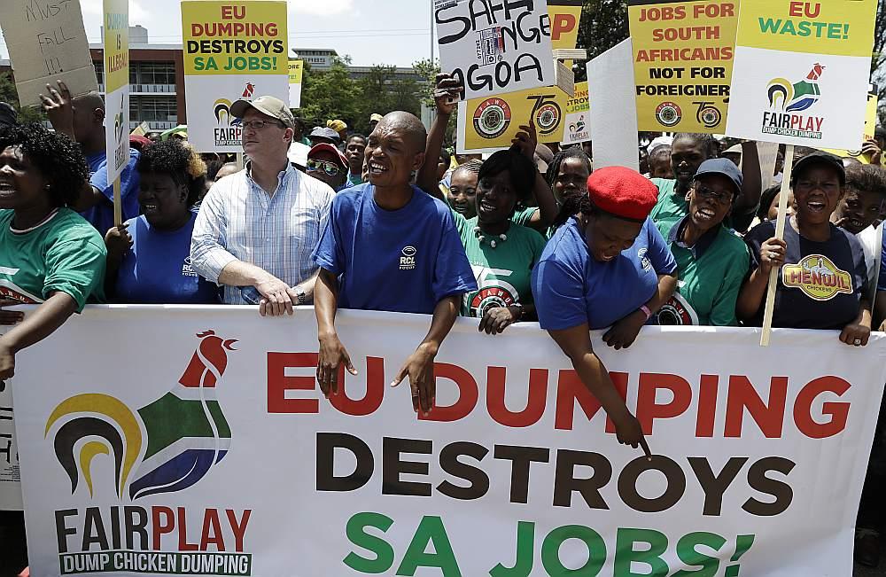"""""""ES dempings iznīcina mūsu darba vietas"""" – ar šādu plakātu Dienvidāfrikas putnkopībā strādājošie protestēja gada sākumā, kad vietējais uzņēmums """"RCL Foods"""" paziņojis par vairāku tūkstošu darba vietu samazinājumu pieaugošā ES importa dēļ."""