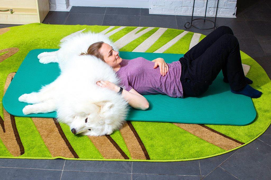 Suņa ķermeņa siltums silda cilvēka plecu joslas muskuļus un muguras kakla daļu. Tā ir izcila siltuma aplikācija, kas kombinējas ar dzīvnieka pozitīvās enerģijas sajušanu un mieru.