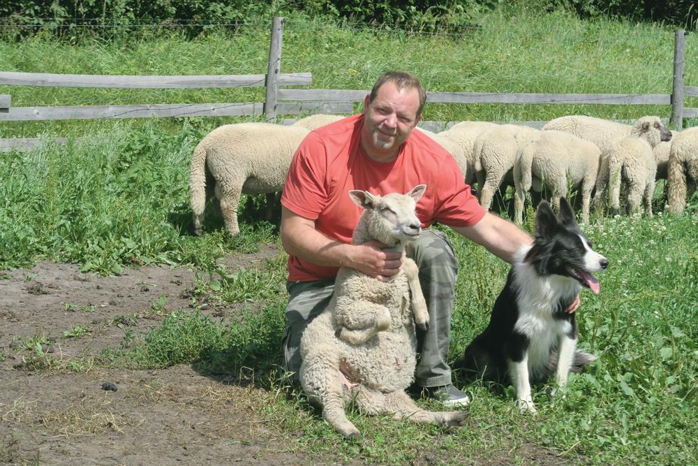 Ivars kopā ar vienu no jēriem un ganāmpulka pieskatīšanā neatsveramu palīgu borderkolliju Brūsu