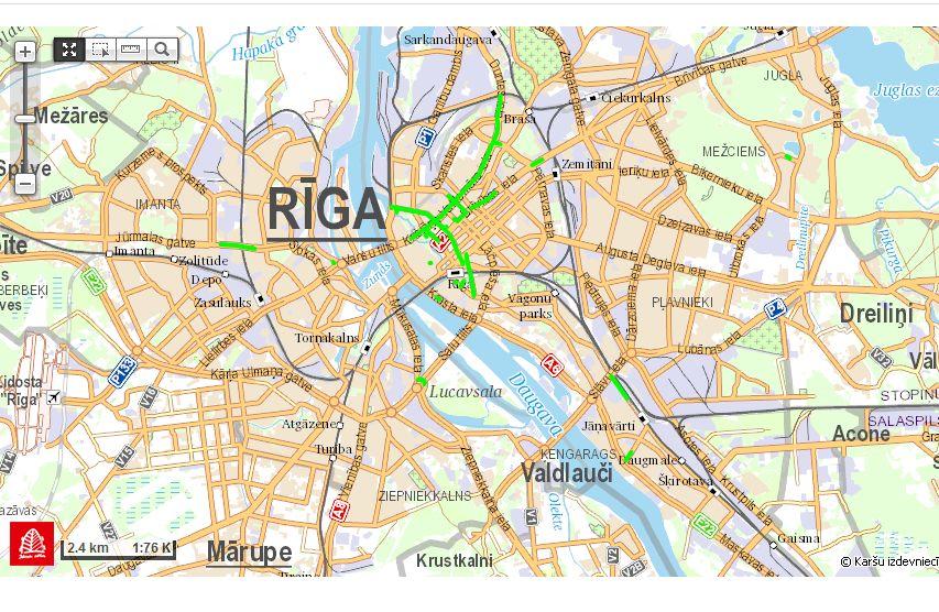 Rīgas centrs. Ielu remonti augusta sākumā.