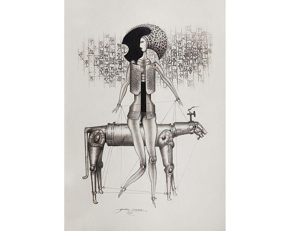 """G. Krollis. """"Modelis 330"""". 2016. Papīrs, grafīta zīmulis. 100 x 70 cm."""