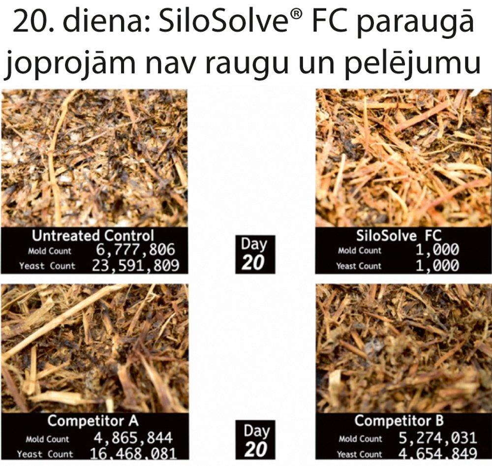 Mājaslapā www.anangro.lv var noskatīties videopētījumu, kur redzams, kā 'SiloSolve FC' ietekmē pelējuma veidošanos