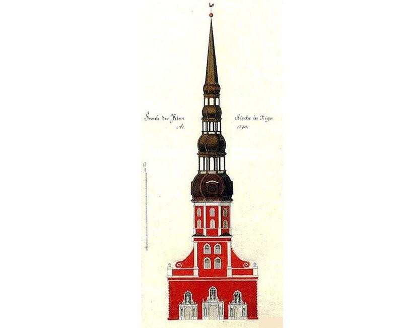 Pēterbaznīcas tornis 18. gs. beigās.