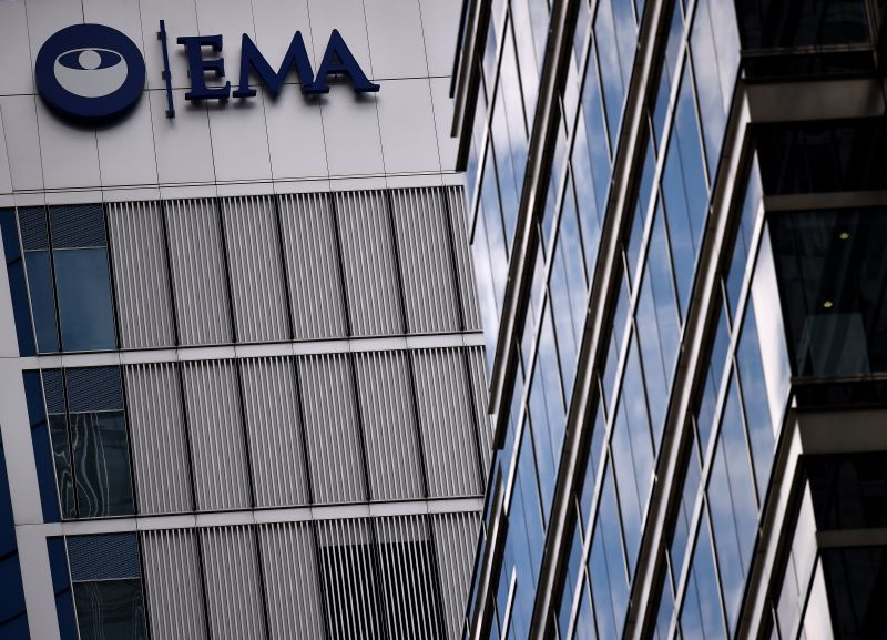 Eiropas Zāļu aģentūras augstceltne Londonā ar uzrakstu EMA.