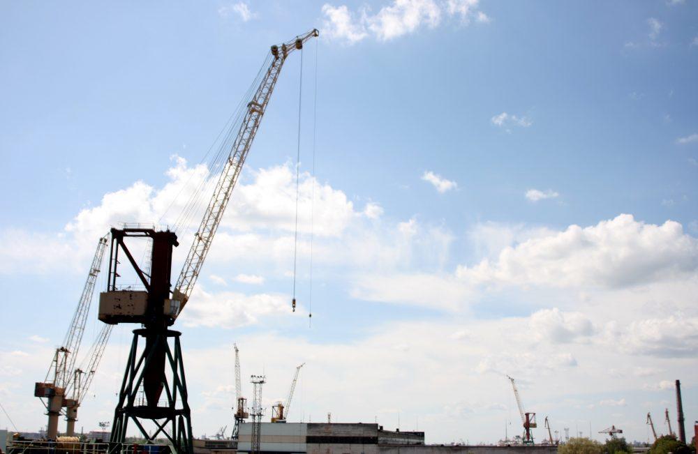 Skats uz Rīgas kuģu būvētavu.