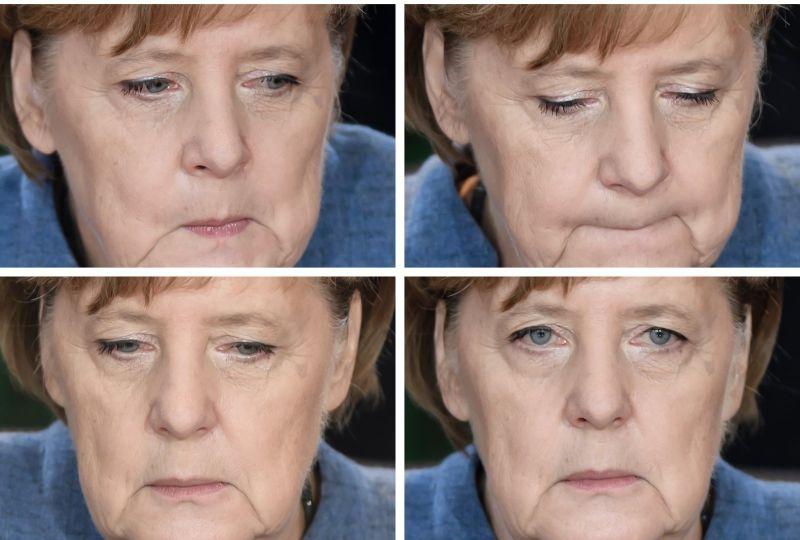 Vācijas kancleres Angelas Merkeles sejas izteiksme otrdien federālās valdības kabinta sēdes laikā Berlīnē.
