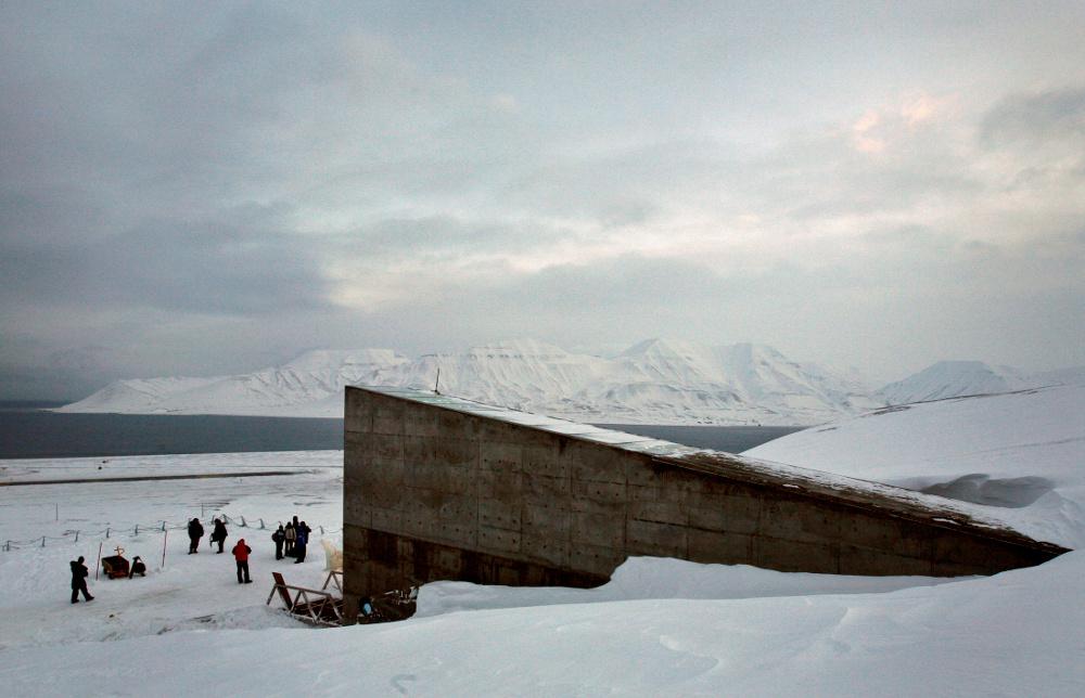 Globālā sēklu glabātava Svalbārā, Norvēģijā.