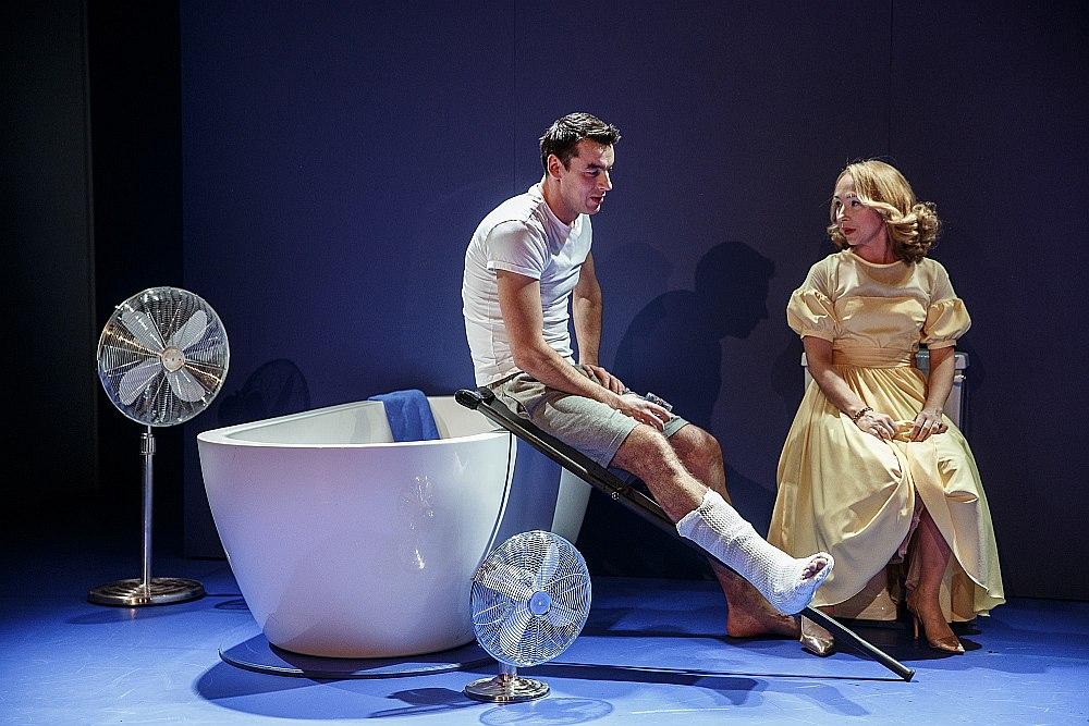 Valmieras teātra izrādē galvenie varoņi ir divi – Ievas Puķes Megija, kura jau Viljamsa lugā uzvedinoši tiek dēvēta par kaķi uz nokaitēta skārda jumta, un Kārļa Freimaņa Briks.