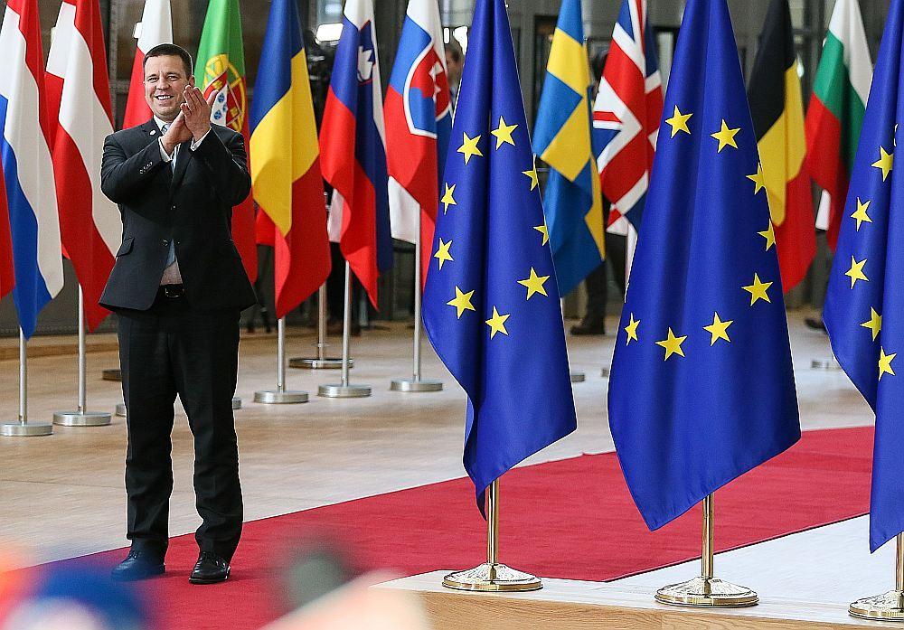 Igaunijas premjerministrs Jiri Ratass pēdējā viņa vadītās ES prezidentūras samitā Briselē 14. decembrī.
