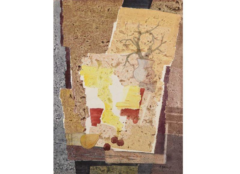 """""""Augļi un zari vāzē"""". 1988, papīrs/akvarelis, Talsu novada muzeja krājums."""