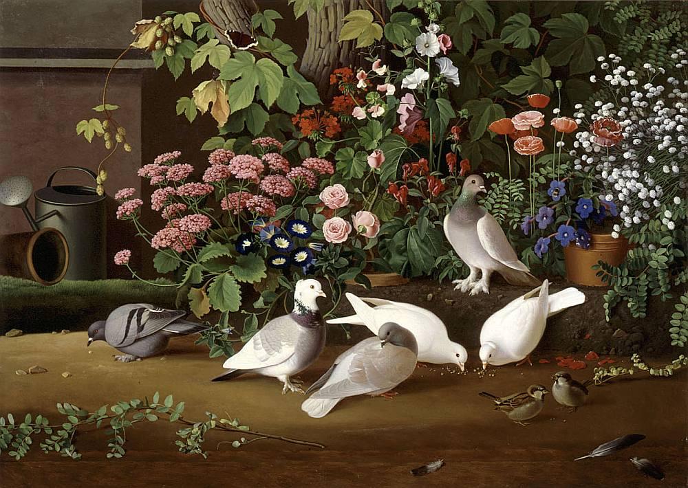 """Ferdinands fon Vrigts (Ferdinand von Wright). """"No dārza: puķes un putni"""". 1854. Finnish National Gallery / Ateneum Art Museum."""