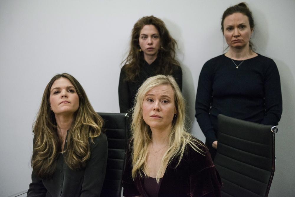 Apsūdzības iesniedzējas (no kreisās): Diāna Bentlija, Hanna Millere, Kristīna Būta un Patrīcija Feidžena.