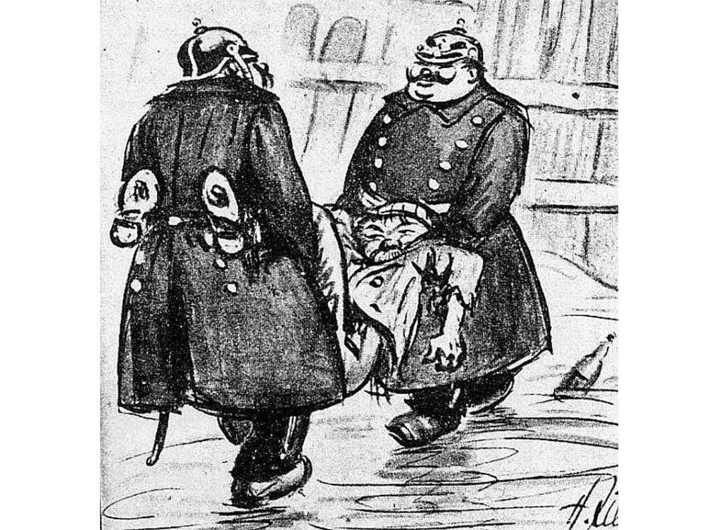 """H. Cille, """"Šņablīķis"""" (""""Die Schnapsleiche"""")."""