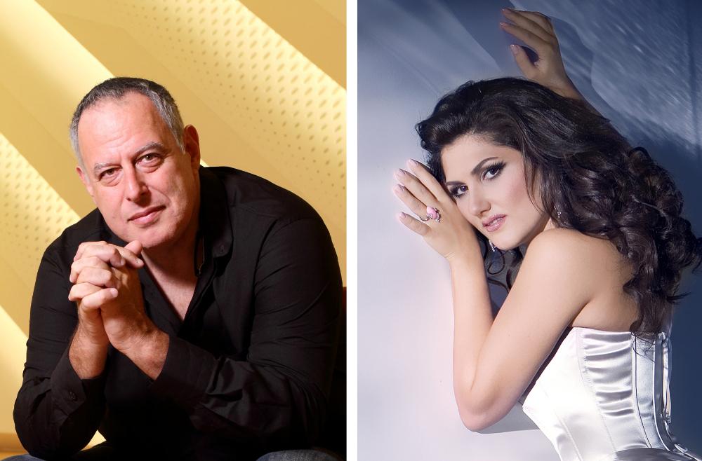 Diriģents Daniels Orens un dziedātāja Dināra Alijeva.