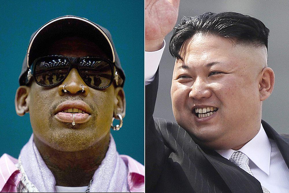 """NBA bijusī zvaigzne Deniss Rodmens (no kreisās) vairākkārt apmeklējis Ziemeļkoreju un ticies ar tās vadoni Kimu Čenunu, taču """"basketbola diplomātija"""" nav palīdzējusi normalizēt ASV un Ziemeļkorejas attiecības."""