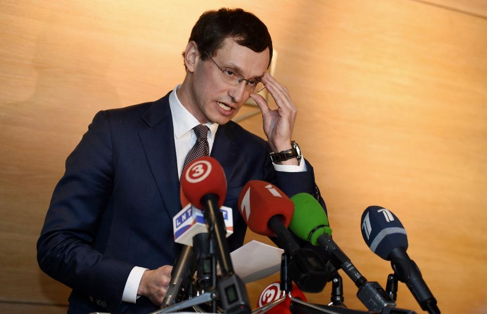 """""""ABLV"""" bankas izpilddirektora vietnieks Vadims Reinfelds preses konferencē 14.02.2018."""