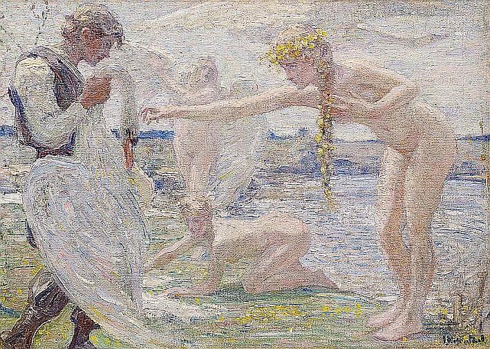 """Janis Rozentāls (1866–1916). """"Gulbju jaunavas"""". Ap 1910. Audekls, eļļa. LNMM kolekcija. Taubes ģimenes dāvinājums Latvijas simtgadei."""
