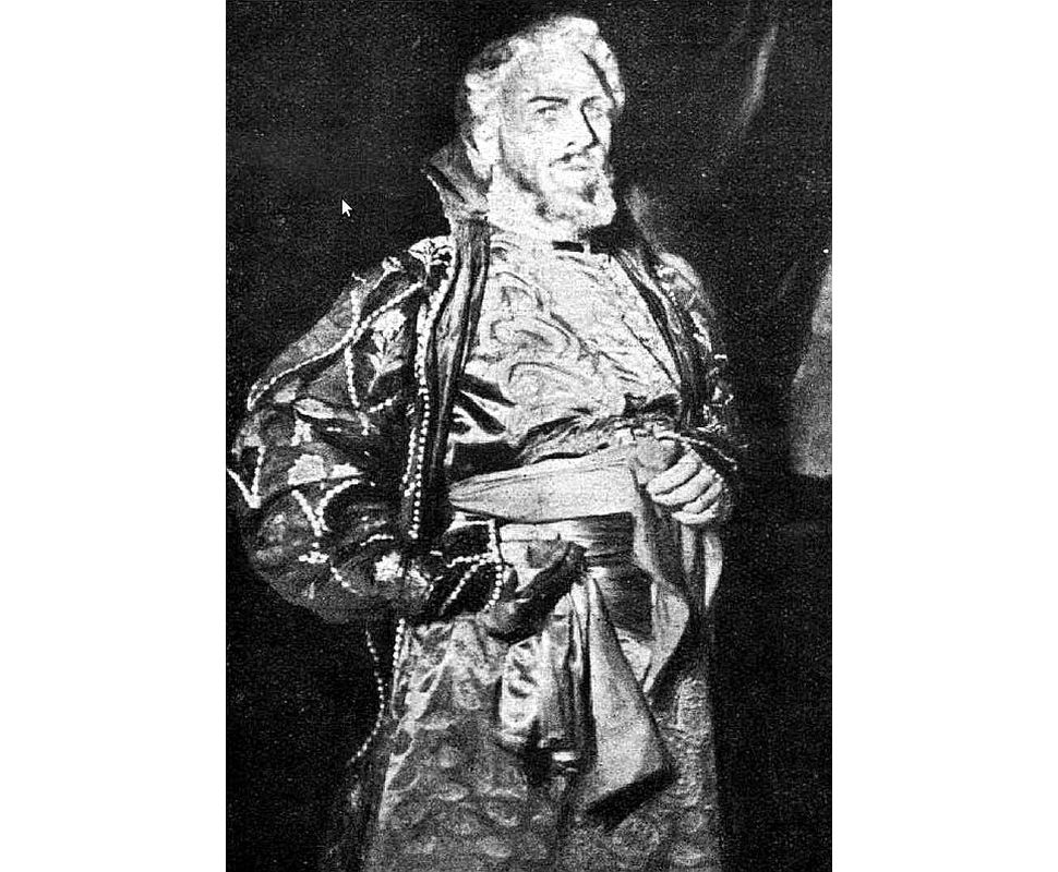 """F. Šaļapins izrādē """"Boriss Godunovs"""" ar LNO kora piedalīšanos."""
