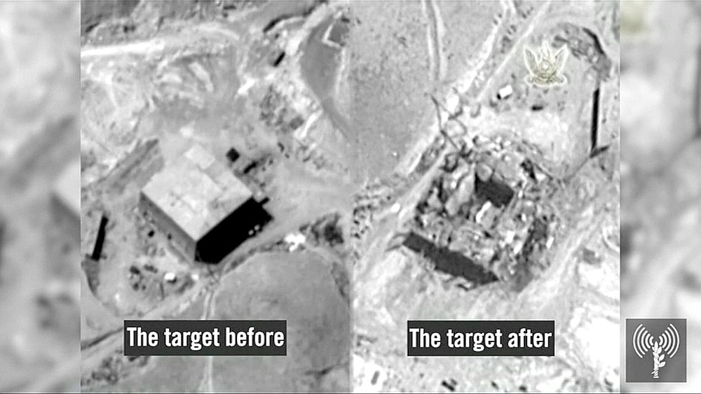 Sīrijas kodolobjekts Deirezorā pirms Izraēlas aviācijas uzbrukuma (no kreisās) un pēc.