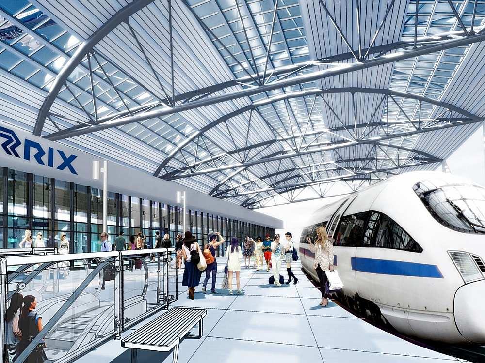 """Dzelzceļa stacija lidostā """"Rīga"""" tiks izvietota uz estakādes, kas stiepsies visā lidostas teritorijā divu kilometru garumā, vienā līmenī ar perspektīvā termināļa reģistrācijas zāli."""