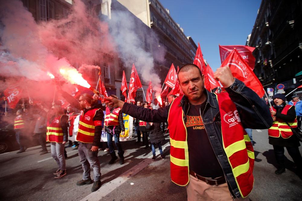 Francijā notiek plaši protesti. Marseļa, 22.03.2018.