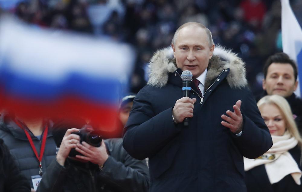 Krievijas prezidents Vladimirs Putins uzstājas priekšvēlēšanu kampaņā Maskavā, 03.03.2018.