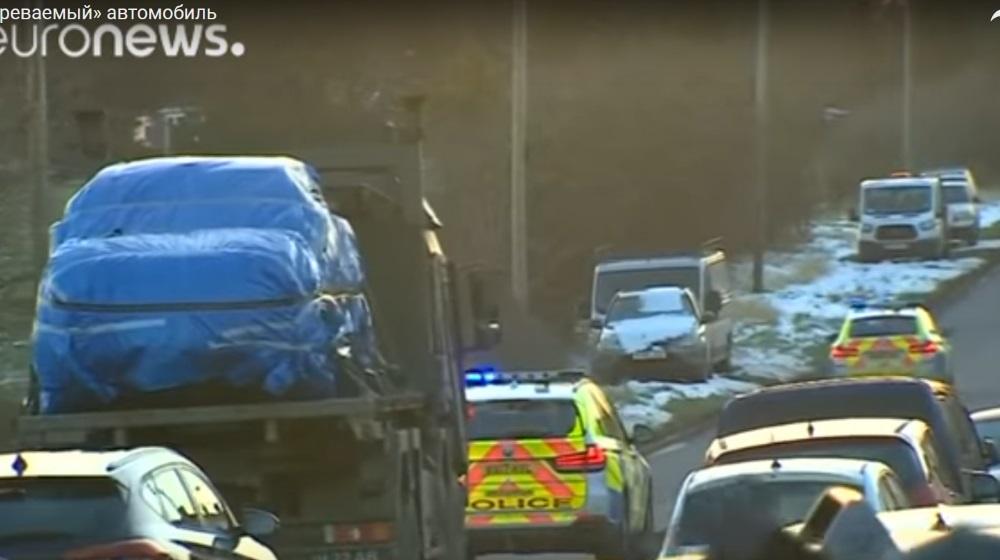 Anglijā piesardzīgi transportē saindētās Jūlijas Skripaļas auto, 20.03.2018.