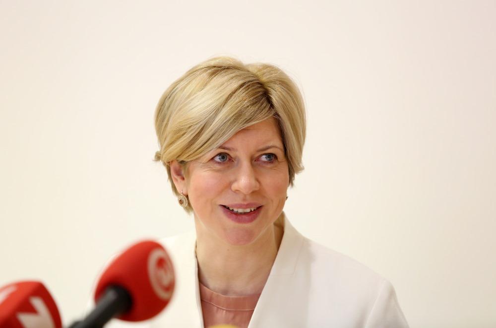 Veselības ministre Anda Čakša rīko pirmo preses konfrenci pēc atgriešanās no dzemdību un bērnu kopšanas atvaļinājuma, 05.04.2018.