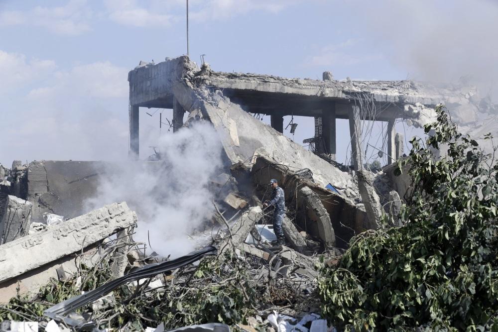 Sīrija pēc raķešu uzlidojumiem, 14.04.2018.