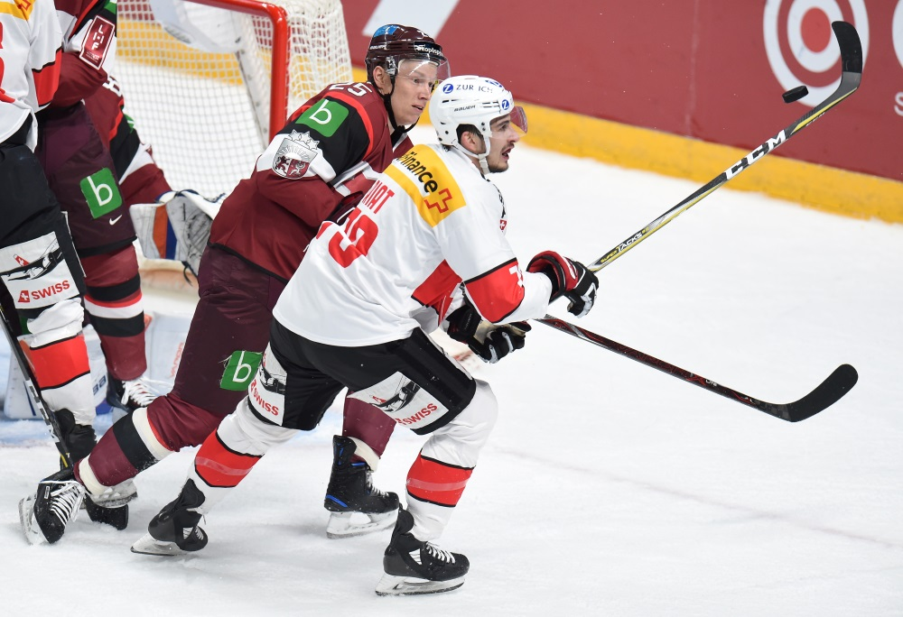 Latvijas hokeja izlase zaudē Šveicei spēlē Rīgā, 27.04.2018.